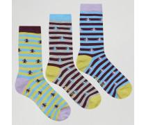 Socken mit Streifenmuster im 3er-Pack Violett