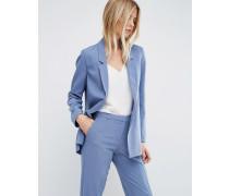 Figurnah geschnittene, schmale Krepp-Jacke Blau