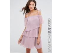 Schulterfreies Minikleid aus Chiffon Violett