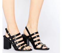 Sandale mit Blockabsatz und Schnalle Schwarz
