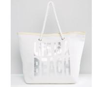 Lifes A Beach Strandtasche Silber