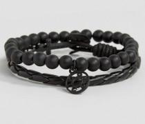 Armbänder in Schwarz/Schwarz mit Anker- und Perlendesign Schwarz