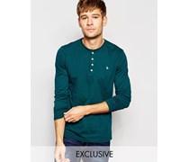 Jack Willis Langärmliges Henley-T-Shirt in Tannengrün, exklusiv Grün