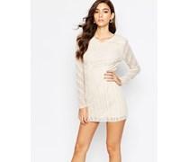 Kleid mit Verzierungen und langen Ärmeln Weiß
