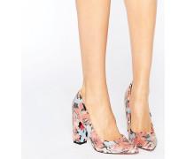 Schuh mit Blockabsatz und Blumenprint in Koralle Mehrfarbig
