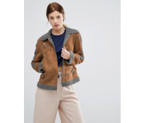 Jacke aus Lammfellimitat mit Kontrast Braun