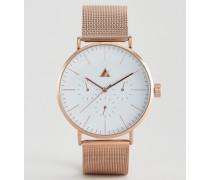Uhr mit Maschenarmband in Roségold Mehrfarbig