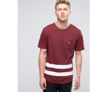 Baseball-T-Shirt mit Tasche und gerundetem Saum Rot