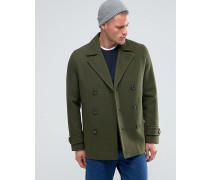 Mantel aus Wollmischung in Khaki Grün