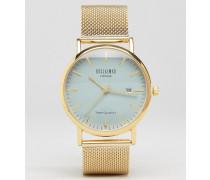 Uhr mit grauem Zifferblatt und goldfarbenem Netzarmband Gold