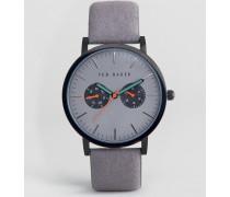 Brit Graue Chronographenuhr aus Leder Grau