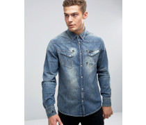 Jeanshemd im Distressed-Look Marineblau