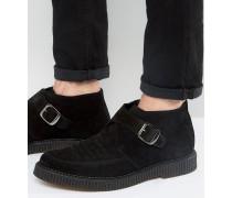 Monk-Stiefel aus Leder Schwarz