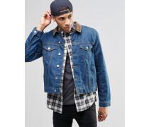 Schmal geschnittene Jeansjacke in Indigo mit Cordkragen Blau