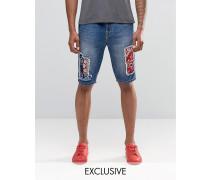 Brooklyn Supply Co Prospect Schmal geschnittene Patchwork-Shorts in Stone-Waschung Blau