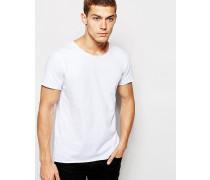 Organic T-Shirt mit rauem Saum Weiß