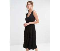 Kleid mit V-Ausschnitt und Faltenrock Schwarz