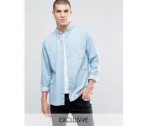 Brooklyn Supply Co Stark verwaschenes Hemd mit Tasche Blau