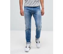 Anbass Enge Stretch-Jeans in verwaschenem Hellblau Blau
