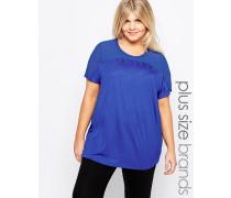 Kurzärmliges T-Shirt mit Netzstoffeinsatz Blau