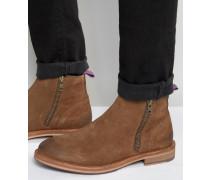 Stiefel mit Reißverschluss und bunter Lasche hinten und an der Sohle Braun