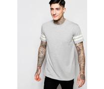 Brooklyn Supply Co Grau meliertes T-Shirt mit doppelt gestreiften Ärmeln Grau