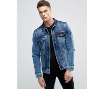 Jeansjacke in mittelblauer Waschung Blau