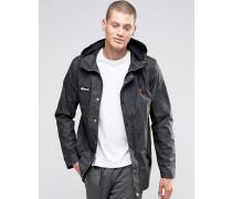 Beschichtete Jacke mit Kapuze Schwarz