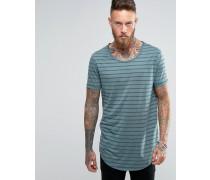 Superlanges T-Shirt mit U-Ausschnitt, transparenten Streifen und abgerundetem Saum Blau