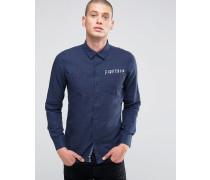 Gebürstetes Flanellhemd Marineblau