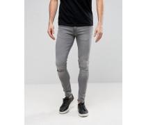 Superenge Skinny-Jeans mit Zierrissen an den Knien Grau