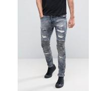 Enge Biker-Jeans im Used-Look Blau