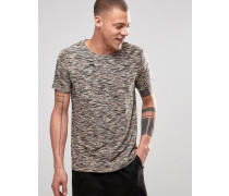 Hunter Meliertes, gestreiftes T-Shirt in Dark Mole Braun