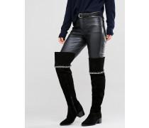 KEETA Overknee-Stiefel aus Wildleder mit Kette Schwarz