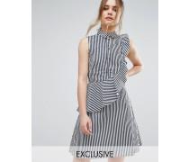 Closet Gestreiftes Hemdkleid mit Rüschen Mehrfarbig