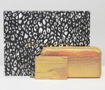 Geschenkbox mit Brieftasche und Kartenetui mit Kroko-Effekt in Metallic-Optik Gold