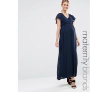 Mamalicious Mode für Schwangere Maxikleid mit Rüschenärmeln Marineblau
