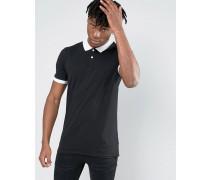 Polohemd mit kurzem Arm in Schwarz Schwarz