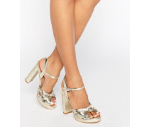 Truffle Plateau-Sandale mit Knoten vorn Gold