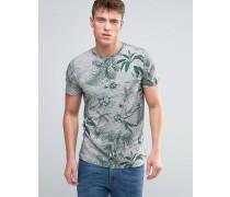 Vollständig mit Blumen bedrucktes T-Shirt Grau