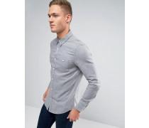 Schmales Hemd mit Tasche Grau