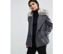 Zweireihiger Mantel mit abnehmbarem Kunstpelzkragen Grau