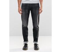 Anbass Schmale Stretch-Jeans in verwaschenem Schwarz Schwarz