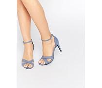 Sandalen mit Absatz und überkreuzten Riemen Blau