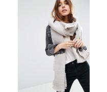 Langer gewebter Oversize-Schal in zweifarbigem Design Steingrau