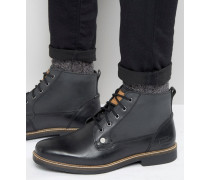 Original Peguin Geschnürte Stiefel aus schwarzem Leder Schwarz