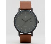 Schlichte Uhr in Schwarz mit braunem Lederarmband Braun