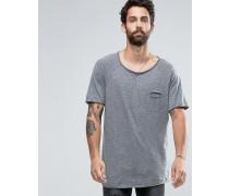 Graues T-Shirt mit gerundetem Saum Grau
