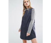 Hemdkleid mit Ginganmuster und Punkten Marineblau