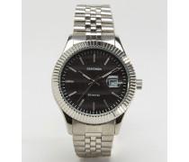 Silberfarbene Armbanduhr mit schwarzem Zifferblatt, exklusiv bei ASOS Silber